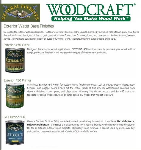 Exterior Water Based Finishes from General Finishes available at Woodcraft.com and participating stores.