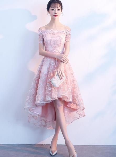 Beautiful Pink High Low Lace Cute Party Dress, Homecoming Dress