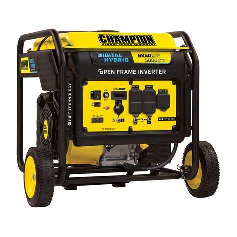 Champion Power Equipment Dh Series 6 250 Watt Gasoline Powered Recoil Start Open Frame Inverter Generator With 301 Cc Engine 100519 Inverter Generator Open Frame Champion