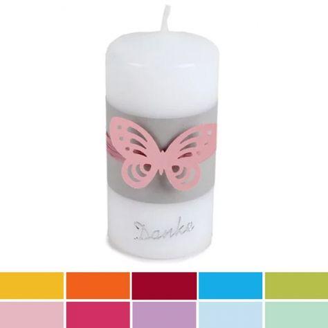 Danke Kerze zur Kommunion Konfirmation Motiv Schmetterling