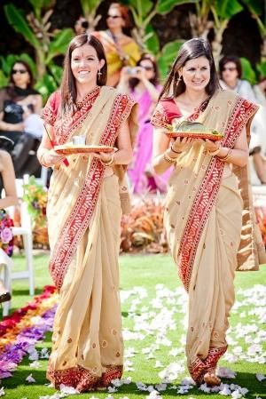 Beautiful Bridesmaids Donned Traditional Saris At This Beachside Four Seasons Resort Maui Indian Wedding