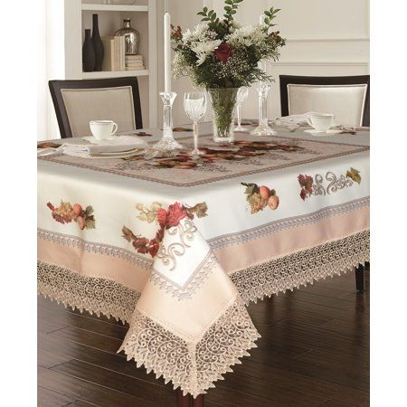 Decorative Printed Fruttela Tablecloth With Lace Trimming Ivory 70 Round Walmart Com In 2021 Table Cloth Elegant Tablecloth Table Linens