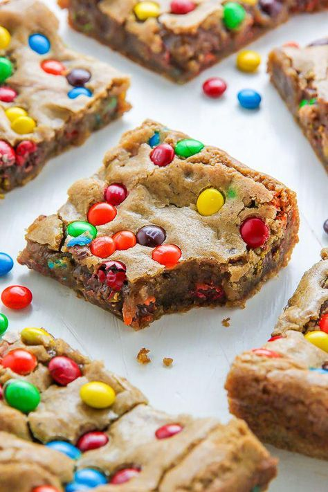 Chewy Brown Butter M&M Blondies - Baker by Nature