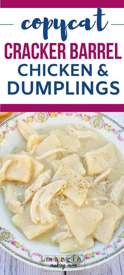 These homemade chicken and dumplings are good old fashioned comfort food at its best! They remind me of Cracker Barrel chicken and dumplings, which is how southern dumplings should be made. restaurant Homemade Chicken and Dumplings Cracker Barrel Chicken And Dumplings Recipe, Cracker Barrel Recipes, Homemade Chicken And Dumplings, Chicken And Dumplings Southern, Cracker Barrel Meatloaf, Cracker Chicken, Copykat Recipes, Crockpot Recipes, Chicken Recipes
