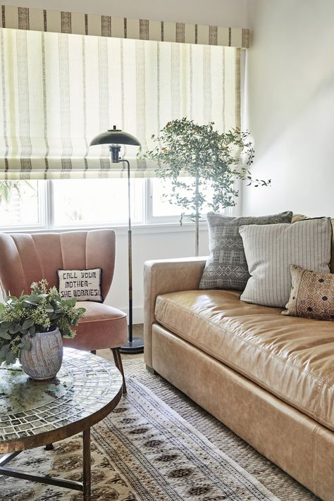 Living Room with Leather and Pastels
