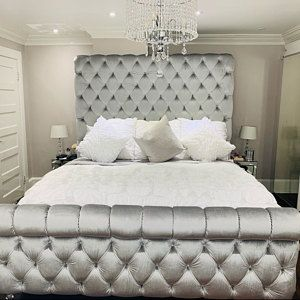 Round Bed Tufted Upholstered Bed Scallop Shape Round Bed Frame Etsy In 2020 Tall Headboard Tufted Upholstered Headboard Tufted Bed
