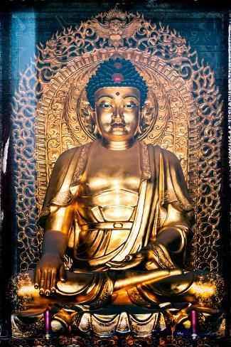Photographic Print China 10mkm2 Collection Instants Of Series Gold Buddha By Philippe Hugonnard 24x16in Buddha Photographic Print Buddha Image