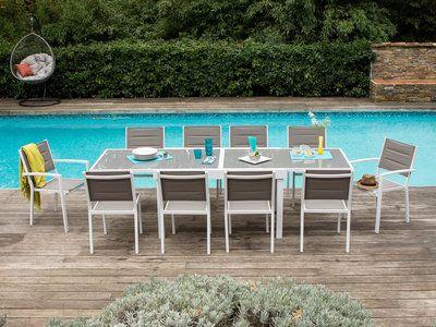 Salon Jardin Aluminium Table Extensible 135 270cm Chaises Et Fauteuils Empilables Modena Mobilier Jardin Chaise Fauteuil