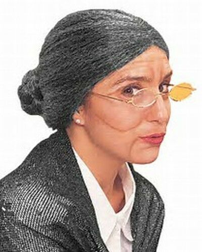 GRANNY BUN WIG GREY OLD LADY FANCY DRESS GRANDMA SECRETARY WITCH