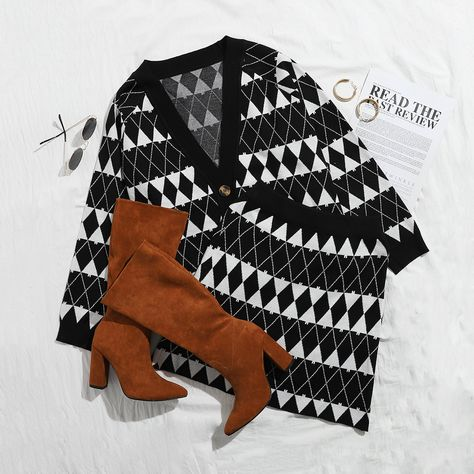 Argyle Pattern Raglan Sleeve Button Front Cardigan  Knit Skirt