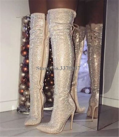 Luxury Bling Crystal Women Boots Back Cross-tied Design Over Knee Boots Rhinestone Thin High Heel Wedding Shoes Woman Long Boots