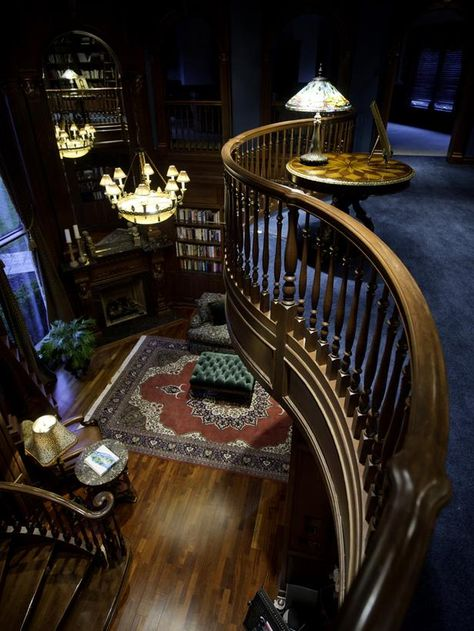 Million Dollar Rooms: Family Castle's opulent library. stairs garden indoor reading nooks A Grand Tour: Multimillion Dollar Spaces From HGTV's Million Dollar Rooms Ravenclaw, Hufflepuff Common Room, Hogwarts, Million Dollar Rooms, Home Libraries, Public Libraries, My Dream Home, Luxury Homes, Luxurious Homes