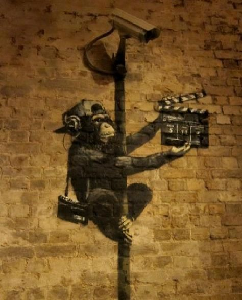 Wouldn't it be great if when vandalism occurred it was creative and well done :) great street art of this security camera and Chimp director!