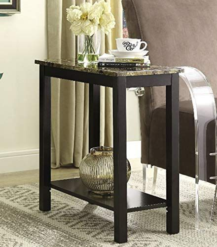 Chairside End Table Narrow Sofa Couchside Tv Coffee Accent Table Espresso Brown Modern Furniture With Storage Shelf F Living Room Bedroom Furniture Narrow Sofa