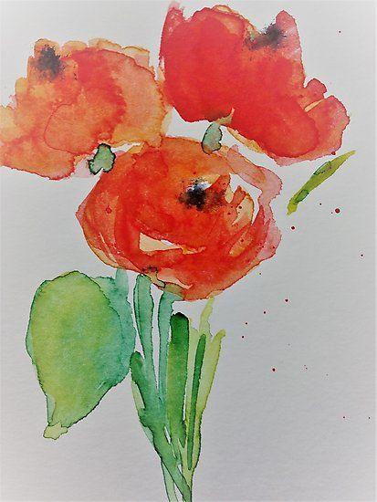 Kaufe Mohnblumen Von Britta75 Auf Folgenden Produkten T Shirt Classic T Shirt Vintage T Shirt Leichter Hoodie Watercolor Flowers Art Prints Poppy Flower