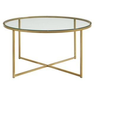 36 Coffee Table With X Base Glass Gold Saracina Home