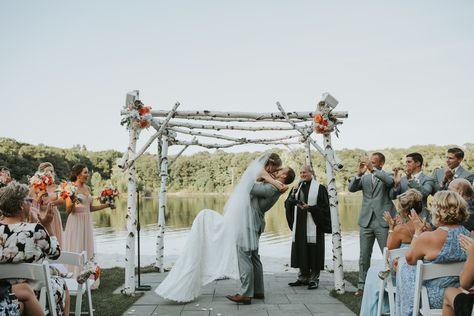 """Bride and Groom say """"I do"""" at their lakeside wedding ceremony in New Jersey 