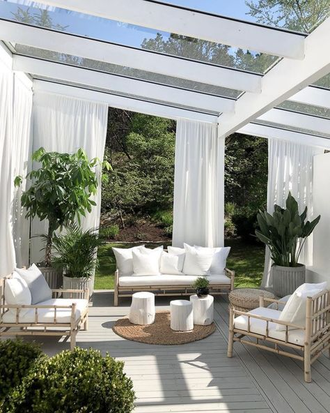 My Summer Palette  Outdoor Living White Outdoor Furnishings Sun Room Draped Sunroom Interior Design  The post My Summer Palette appeared first on Summer Diy.