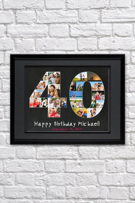 birthday photo collage gift anniversary gift for parents birthday gift for husband Personalized photo collage gift for him - Jubiläums-Geschenkidee Creative Birthday Ideas, Birthday Ideas For Her, Birthday Gifts For Husband, 40th Birthday Parties, Birthday Gifts For Women, 40th Birthday Cakes For Men, Birthday Photo Collage, Photo Collage Gift, Birthday Photos