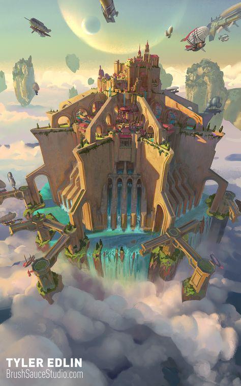 ArtStation - sky city cover for the fifth Ascendant , Tyler edlin
