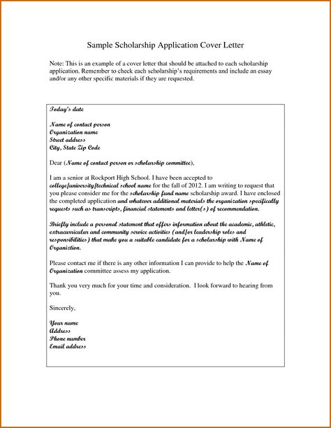 how write cover letter for scholarship application writing - scholarship application letter