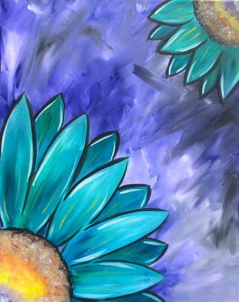 Teal Blue Flower Painting With Purple Background Beginner Painting Idea Blue Flower Painting Flower Art Painting Flower Painting