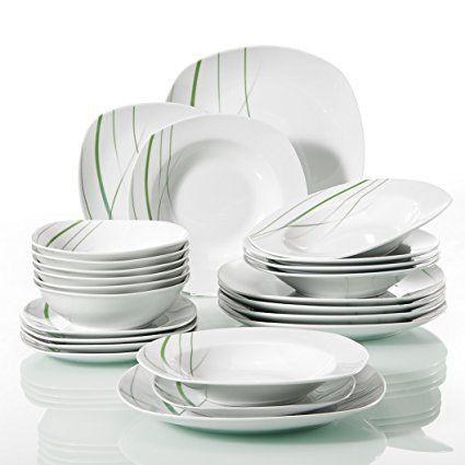 Veweet Aviva 24 Piece Ivory White Green Lines Porcelain Ceramic Tableware Set Of 6 X Bowls Dessert Plates Soup Plates Dinner Plates Dinnerware Bowls And Plate Tableware Set Dinnerware Sets Plates