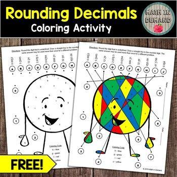 Free Rounding Decimals Coloring Activity Freebie Rounding Decimals Color Activities Decimals