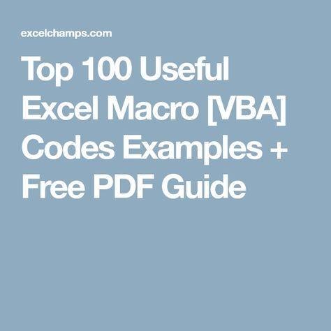Top 100 Useful Excel Macro [VBA] Codes Examples + Free PDF Guide