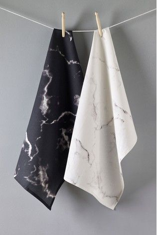 Buy Set Of 2 Marble Effect Tea Towels From The Next Uk Online Shop