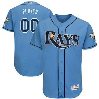 Tampa Bay Rays Majestic 20th Anniversary Alternate On Field Patch Flex Base Custom Jersey Light Blue Tampa Bay Rays Tampa Bay Team Jersey
