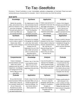 Seedfolks By Paul Fleischman Character Chart Graphic Organizer
