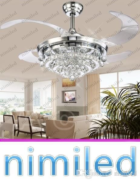 2018 Crystal Led Ceiling Fans Light 42 Inch Mordern Fan Chandelier Ceiling Light With Remote Control For Indoor Livi Led Ceiling Fan Ceiling Fan Ceiling Lights