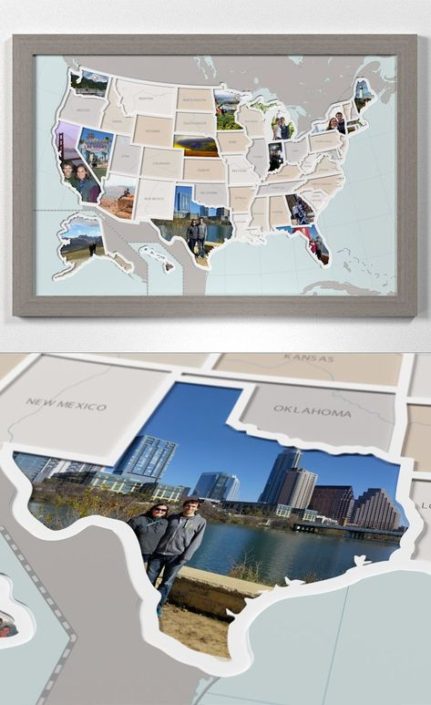 Capture your travels with this unique 50 State Photo map. #states #gifts #maps