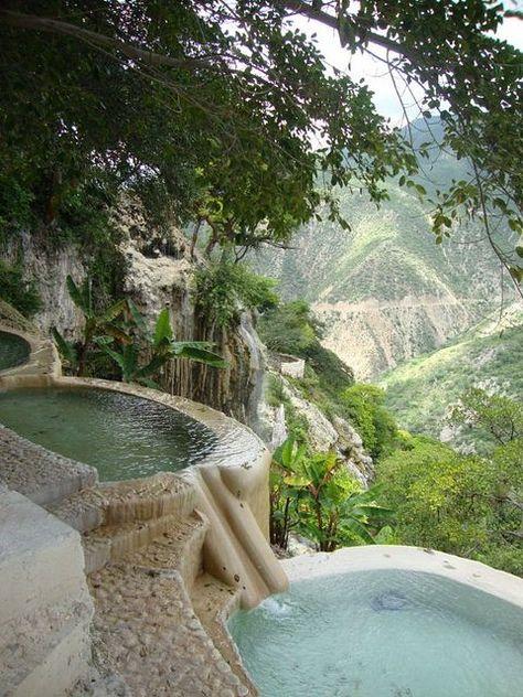 Hot water pools in Hidalgo, Mexico.