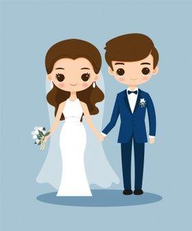 Cute Bride And Groom Cartoon On Wedding Invitation Card Gambar Pengantin Kartu Pernikahan Kartu Undangan Pernikahan