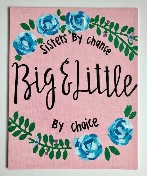 Excited to share the latest addition to my shop: Canvas Board- Big Little Sorority Canvas/ sorority canvas/ dorm canvas/ big little canvas/ painted canvas/ hand painted/ sisters by chance by Big Little Quotes, Big Little Week, Big Little Reveal, Big Little Gifts, Little Presents, Little Things Quotes, Gifts For Big, Painted Letters, Hand Painted Canvas