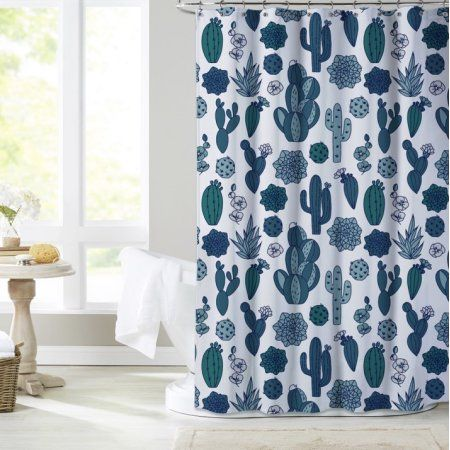 Mainstays Scottsdale Shower Curtain Blue Cactus Shower Curtain
