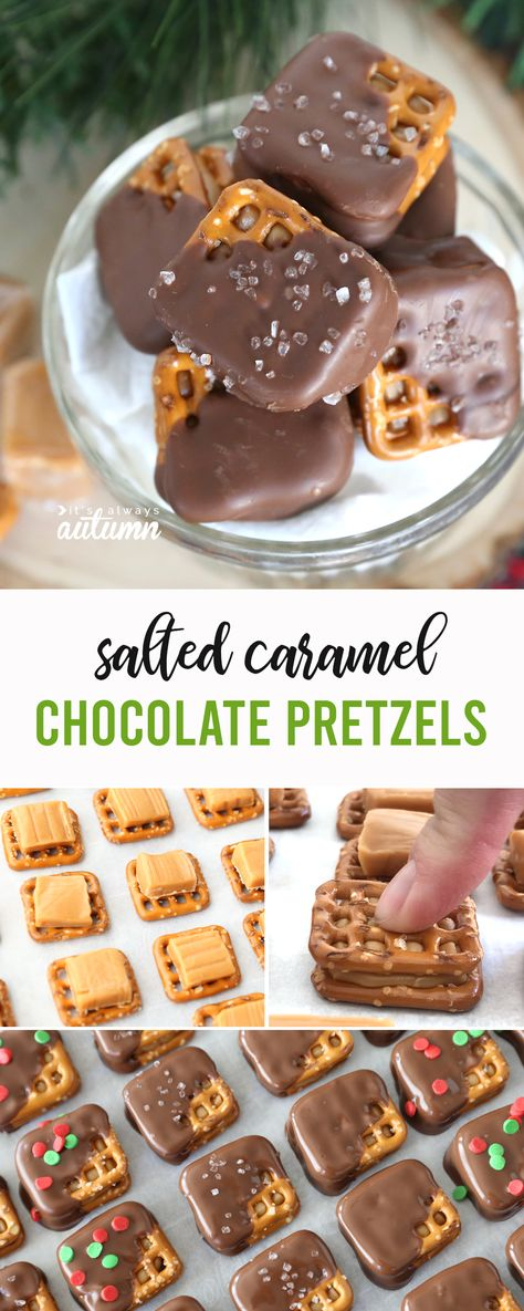 These salted caramel chocolate pretzels are AMAZING! Perfect treat for homemade gifts or Christmas parties. treats Salted Caramel Chocolate Pretzel recipe {these are AMAZING} - It's Always Autumn Salted Caramel Chocolate, Chocolate Caramels, Chocolate Treats, Salted Caramels, Salted Caramel Pretzels Recipe, Pretzel Carmel Chocolate, Chocolate Covered Pretzels Recipe, Salted Caramel Desserts, Caramel Treats