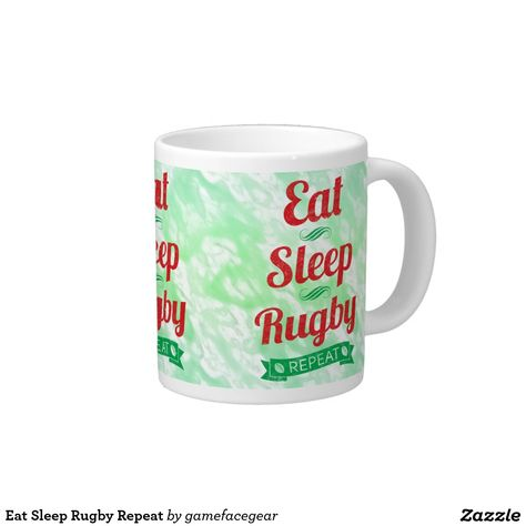 dac384fe60c Eat Sleep #Rugby Repeat 20 Oz Large Ceramic Coffee Mug. Perfect for home  and office, show your rugby love as you have your morning brew!