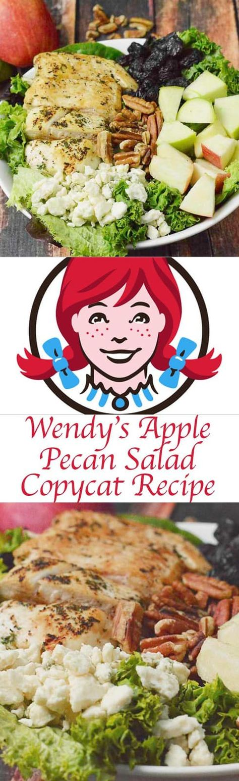 Apple Pecan Salad with chicken, cranberry, and blue cheese is a healthy and hearty meal. Click to get the easy Wendy's copycat recipe. A perfect salad to enjoy crisp fresh apples. #saladrecipes #pecans #chickendinner #chickensalad #bluecheese #cranberry #applerecipes