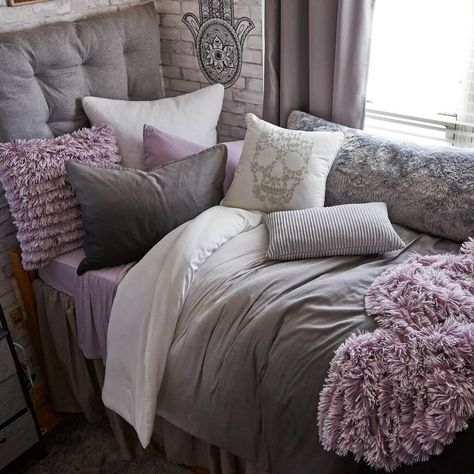 This versatile headboard cushion is the easiest way to upgrade your bed. Simple, great looking, and invitingly cozy, this cushioned headboard takes your room to a whole new level. Purple Dorm Rooms, Purple Master Bedroom, Mauve Bedroom, Black And Grey Bedroom, Purple Bedroom Decor, Rose Bedroom, Grey Room, Room Ideas Bedroom, Romantic Purple Bedroom
