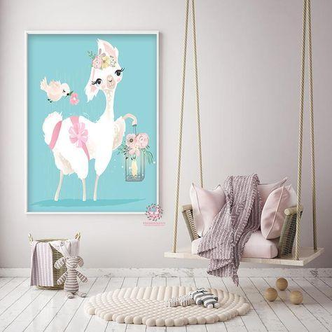 Ethereal Llama Baby Girl Nursery Wall Art Print Boho Alpaca Floral Kids Bedroom Room Limited Edition Printable Decor