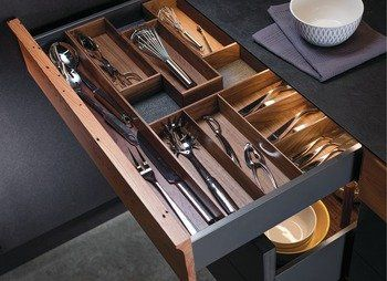 Amazon Com Cutlery Drawer Insert Fineline By Hafele Walnut 300 X 423 5 X 49 Mm Kitchen Dining Cutlery Drawer Insert Hafele Drawer Inserts