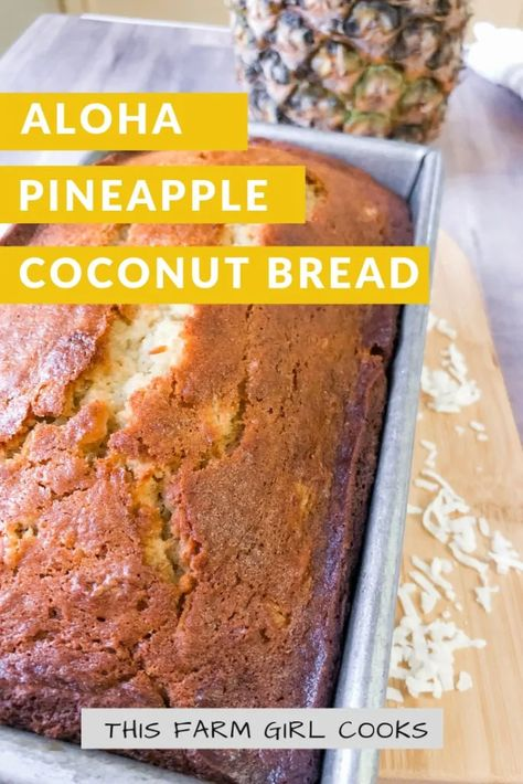 My best banana coconut bread recipe is easy, moist Hawaiian Banana Bread. This quick bread is full of coconut flakes, crushed pineapple & ripe bananas. #pineapple #coconut #quickbread #bananabread