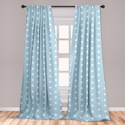 East Urban Home Ambesonne Aqua Curtains Watercolor Style White Spots On Blue Backdrop Retro Style Polka Dots Baby Pattern Window Treatments 2 Panel Aqua Curtains Living Room Bedroom Bedroom Decor