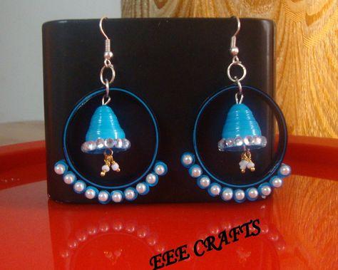 Quilled hoop Jhumka earrings
