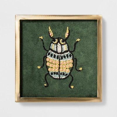 10 X 10 Framed Wall Canvas Beaded Bug Art Opalhouse Framed Wall Canvas Frames On Wall Wall Canvas