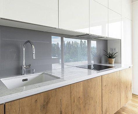 moderne Küche mit Halbinsel in schwarz, taupe und weiß home - vergilbte k chenfronten reinigen