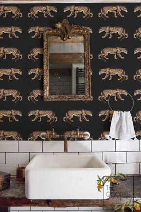 Leopard Wallpaper Cheetah Animal Print Chic Style Wall Etsy Leopard Wallpaper Animal Print Bathroom Removable Wallpaper